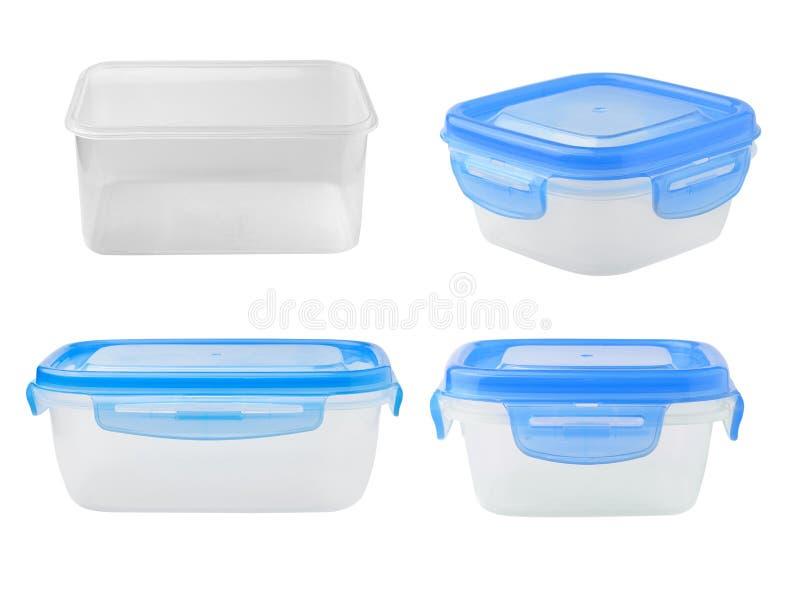 Plastiklebensmittelkasten auf weißem Hintergrund lizenzfreies stockbild