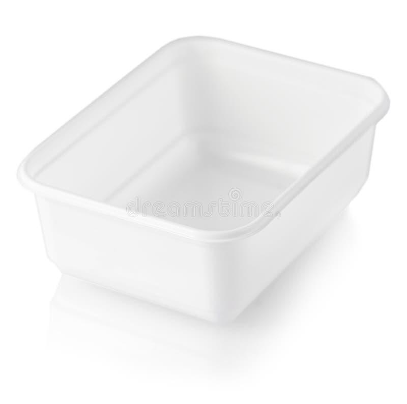 Plastiknahrungsmittelkasten getrennt auf weißem Hintergrund stockfoto