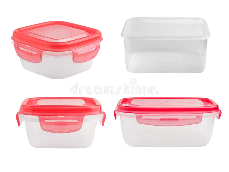 Plastiknahrungsmittelkasten getrennt auf weißem Hintergrund stockfotografie