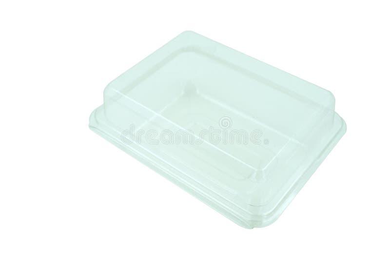 Plastiknahrungsmittelkasten getrennt auf weißem Hintergrund stockbild