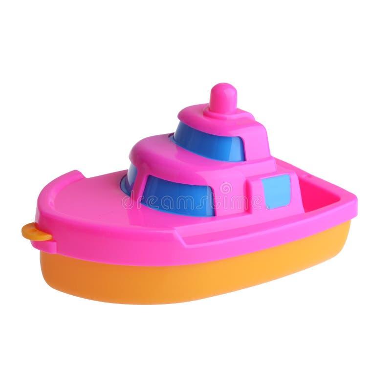 Plastikowa łódź dla dzieciaków odizolowywających na białym tle obraz royalty free