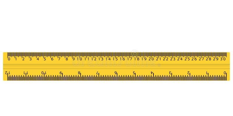 Plastikowa żółta władca z cm i calami ilustracja wektor