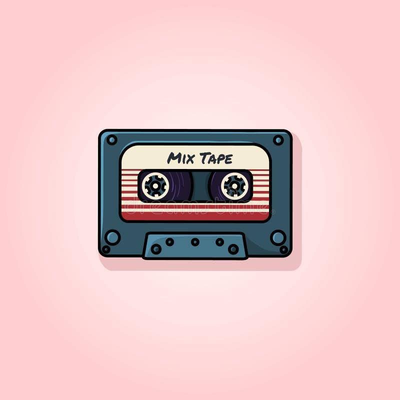 Plastikowa audio ścisła kasety taśma - sieci ilustracja ilustracji