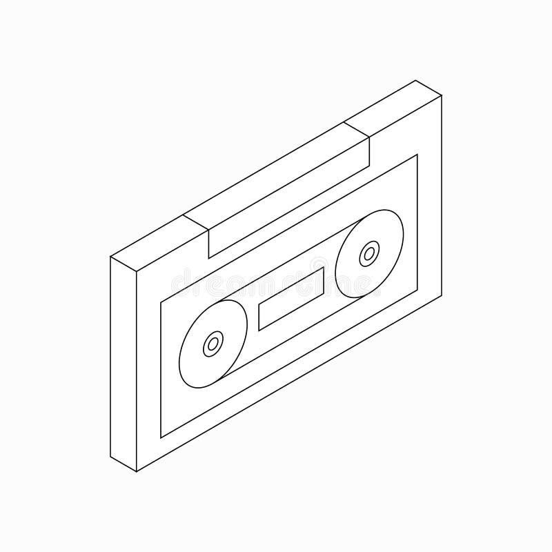 Plastikowa audio kasety ikona, isometric 3d styl ilustracja wektor