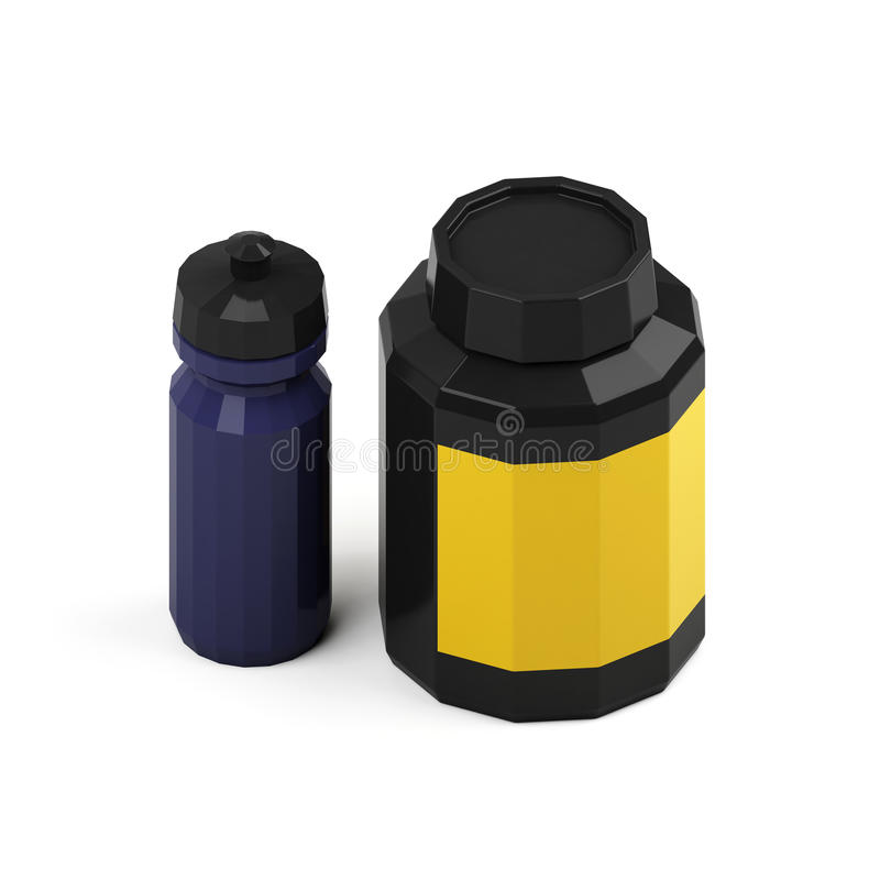 Plastikowa bank serwatki proteina i gainer Napój butelka dla sprawności fizycznej świadczenia 3 d ilustracja wektor