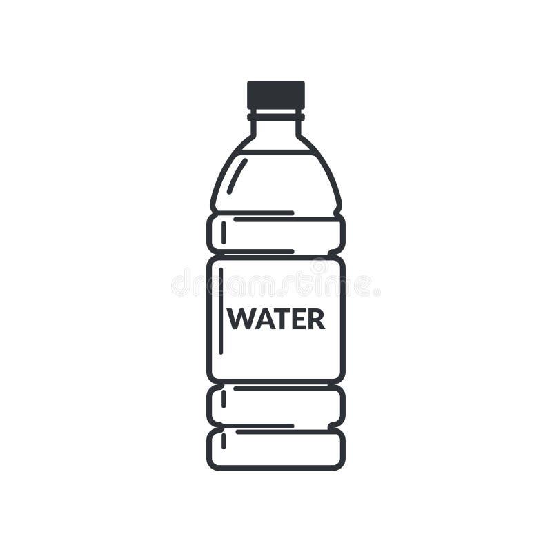 Plastikowa butelka pełno woda z etykietką na białym tle Mieszkanie stylowa ikona ilustracja wektor