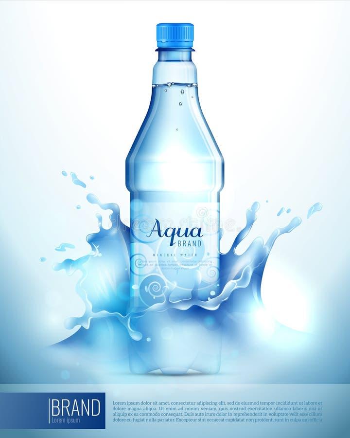 Plastikowa butelka W pluśnięciach Plakatowych royalty ilustracja