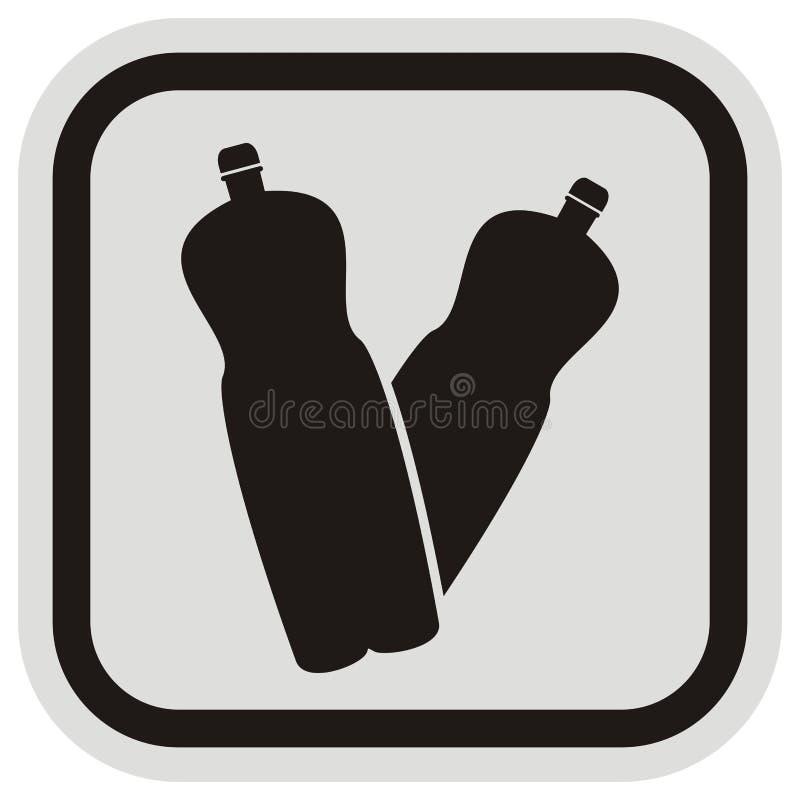 Plastikowa butelka, wektorowa ikona przy szarość i czerni rama, royalty ilustracja