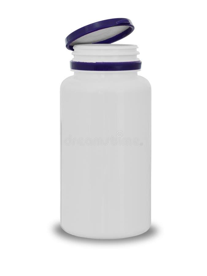 Plastikowa mała butelka dla pastylek i pigułek z otwartą pokrywą na białym tle z cieniem fotografia royalty free