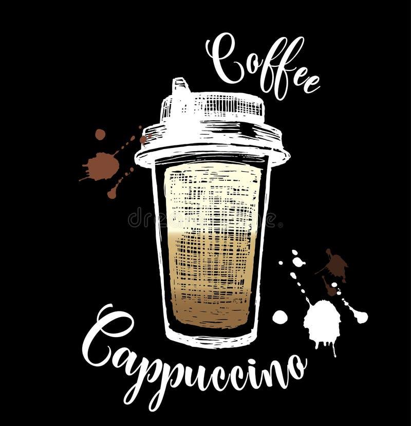 Plastikowa ręka rysująca filiżanka kawy konturu doodle ikona Takeaway kawowa nakreślenie ilustracja dla druku, sieć, wisząca ozdo royalty ilustracja