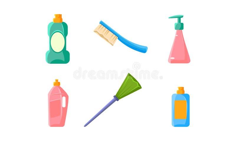 Plastikowe butelki produkty, miotła, muśnięcie, gospodarstwo domowe substancje chemiczne i narzędzie wektoru ilustracja czyści, royalty ilustracja