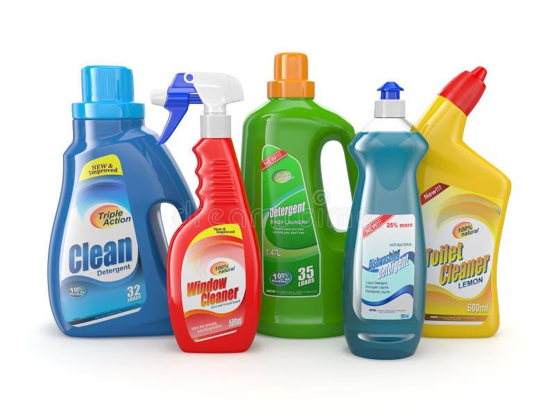 Plastikowe detergent butelki. Cleaning produkty. ilustracji