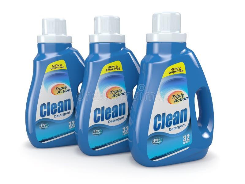 Plastikowe detergent butelki. Cleaning produkty. royalty ilustracja