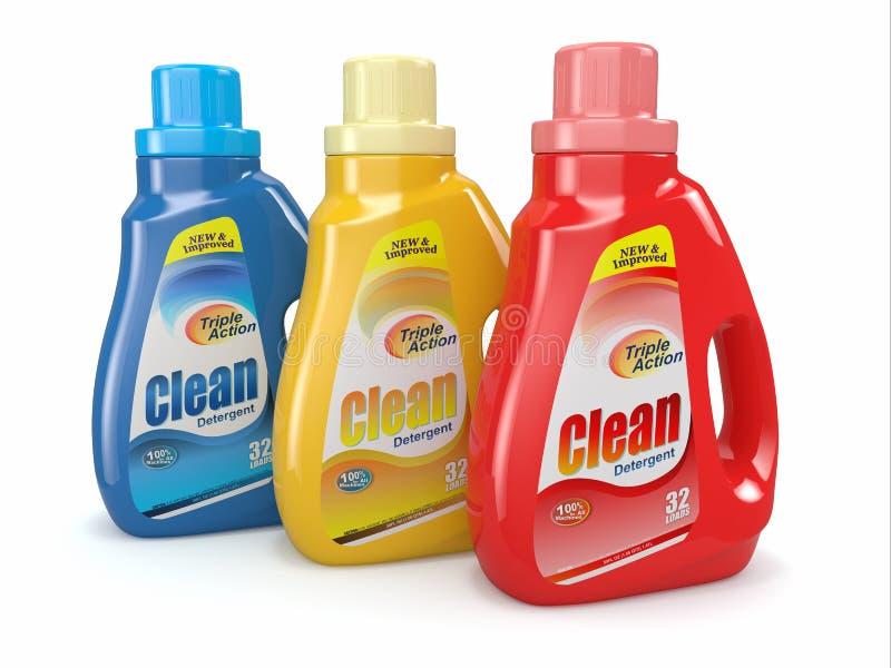 Plastikowe detergentowe butelki. Cleaning produkty. ilustracji