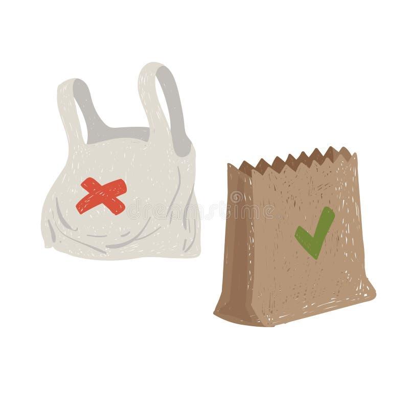 Plastikowe i papierowe torby życzliwy pojęcie Konserwacja środowisko ilustracji