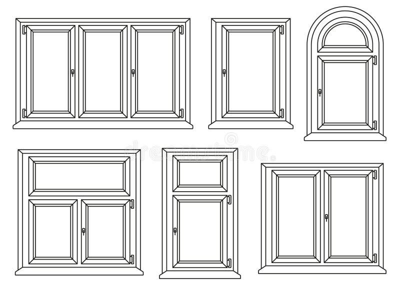 Plastikowe okno ikony ustawiać ilustracja wektor