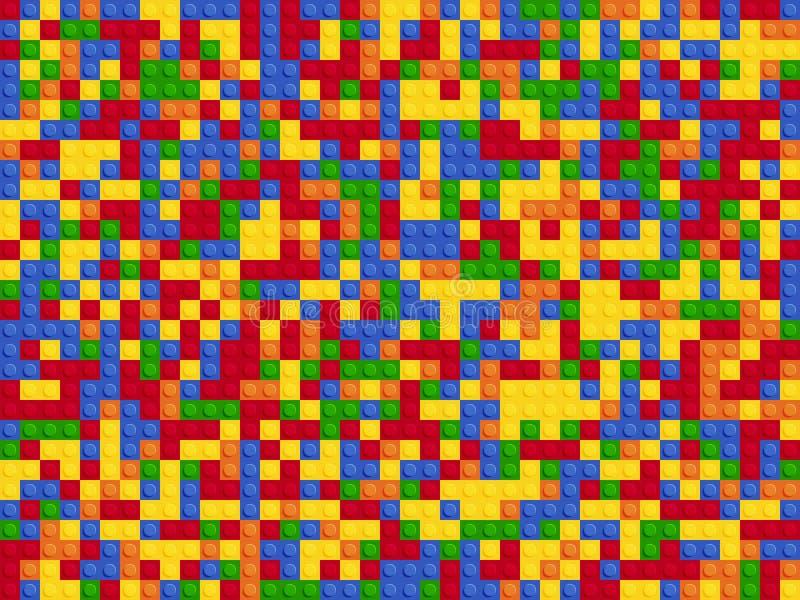 Plastikowego konstruktora bezszwowy wz?r Koloru t?a abstrakcjonistycznych blok?w p??kowy p?aski projekt royalty ilustracja