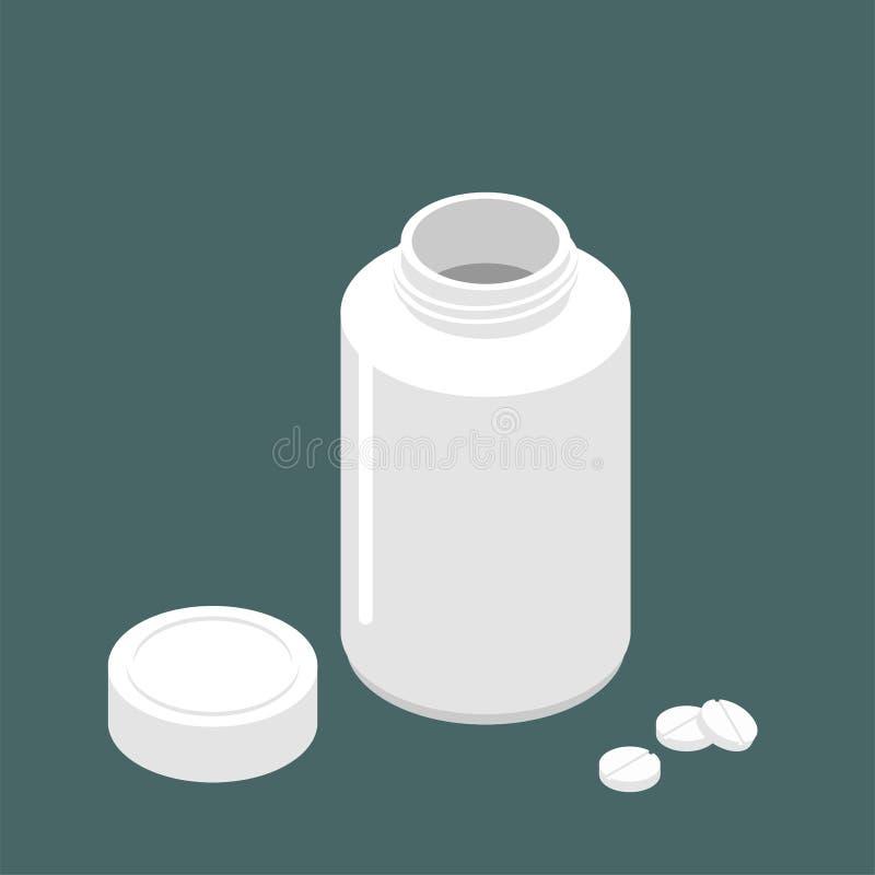 Plastikowego słoju otwarty dekiel dla pastylek i pigułek Zbiornik dla medici ilustracji