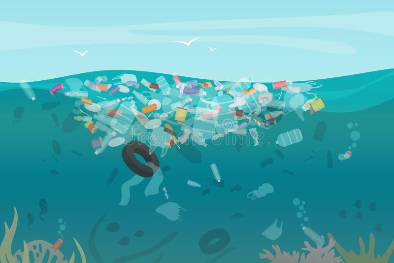 Plastikowego zanieczyszczenie grata podwodny morze z różnymi rodzajami śmieci - klingeryt butelkuje, torby, odpady unosi się w wo royalty ilustracja