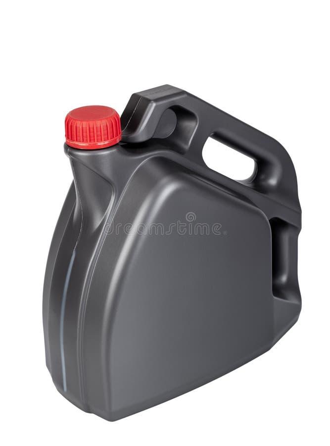 Plastikowego zbiornika motorowego oleju puszka obraz stock