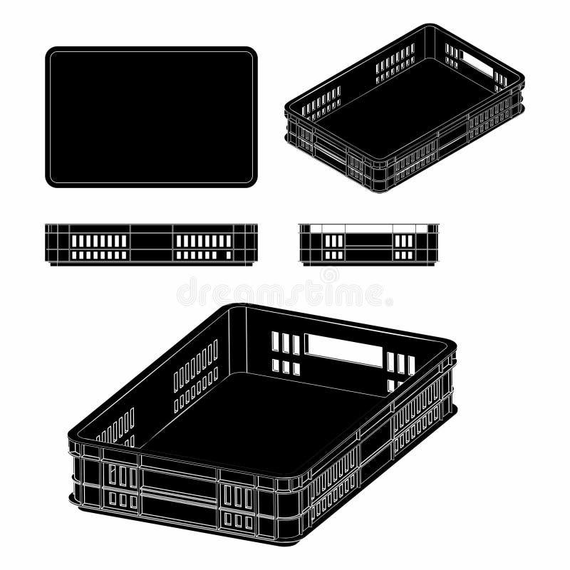 Plastikowej skrzynki czerni pełnia ilustracja wektor