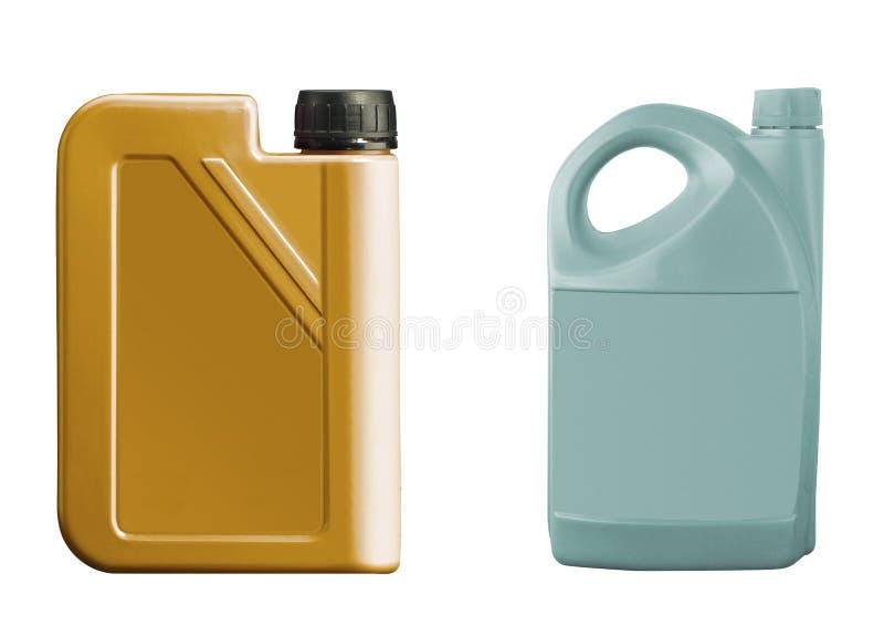 Plastikowi kanistery dla motorowego oleju odizolowywającego na bielu zdjęcia stock