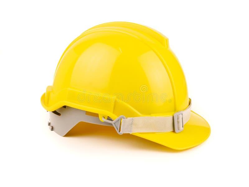 Plastikowy żółty zbawczy hełm lub budowa ciężki kapelusz pojęcia zbawczy projekt robociarzi jako inżynier na białym tle, odosobni obrazy royalty free