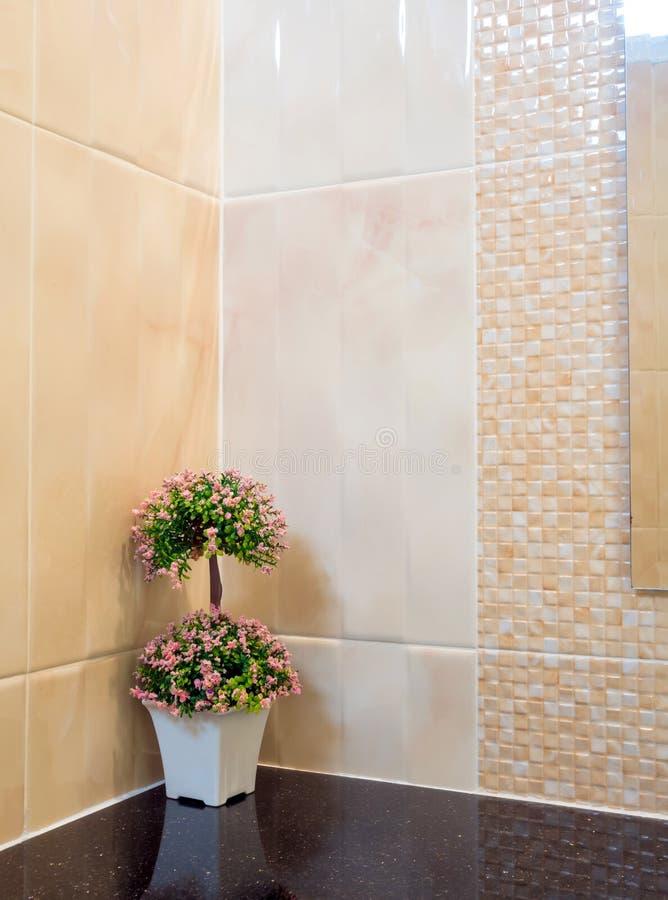 Plastikowy bukiet w wazie Dekoruje ściennego kąt w prysznic obraz royalty free