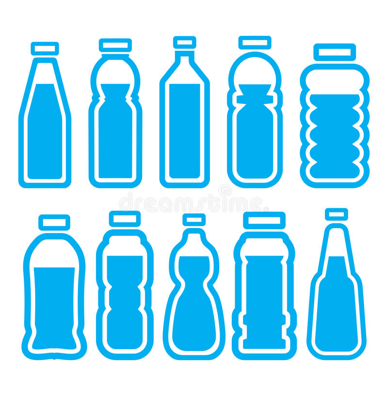 Plastikowy butelka set ilustracji