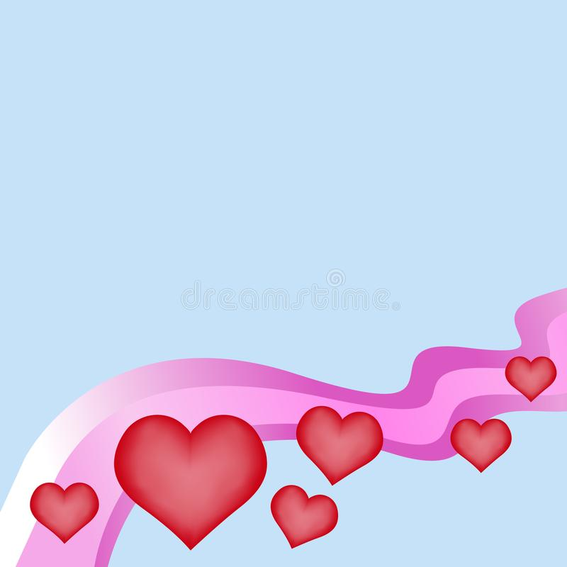 Plastikowy czerwony serce na różowej tęczy macha na bławym wektorowym lov ilustracja wektor