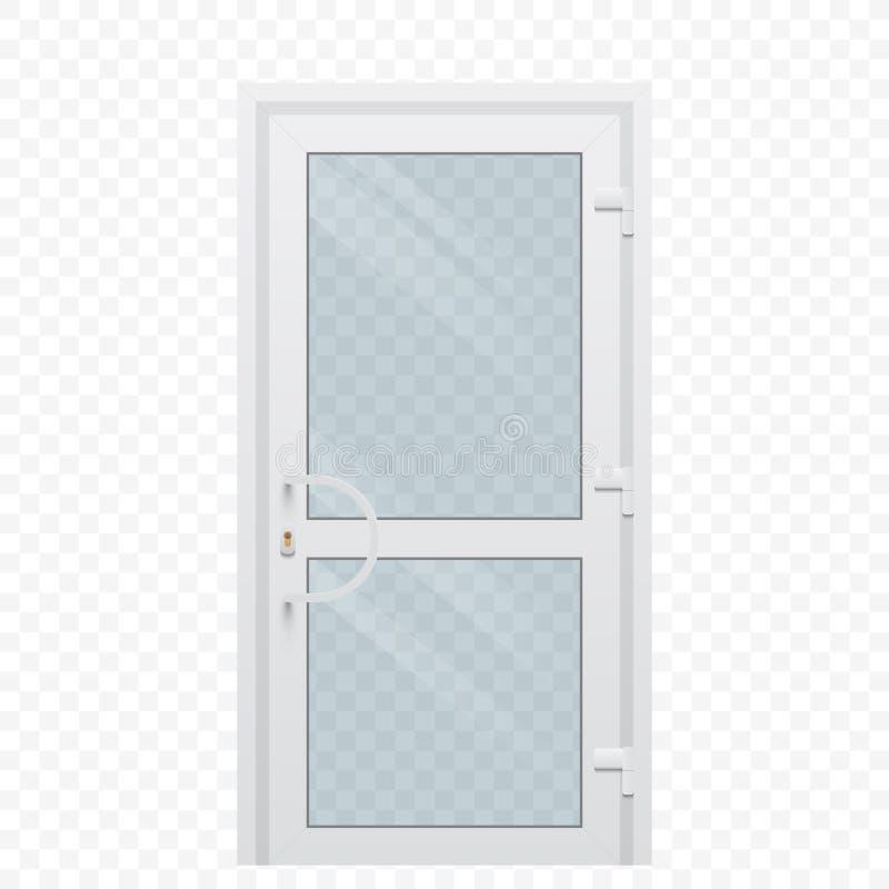 Plastikowy drzwi z przejrzystym szklanym okno na prostym tle royalty ilustracja