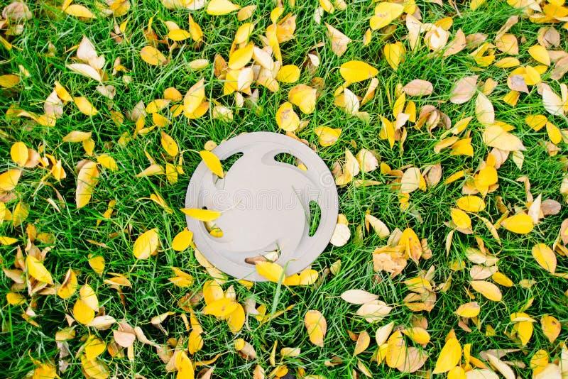 Plastikowy hubcap na jesień gazonie fotografia royalty free