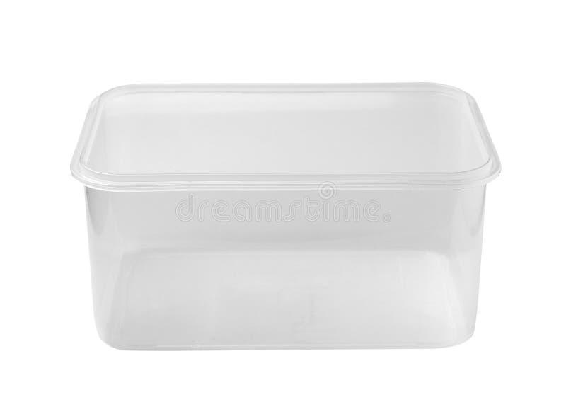 Plastikowy jedzenia pudełko na białym tle obrazy stock