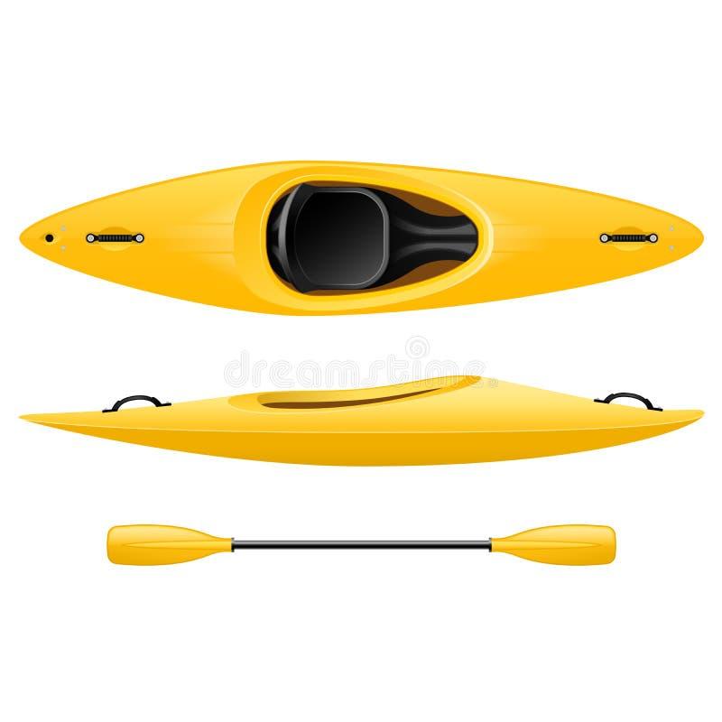 Plastikowy kajak dla łowić i turystyki, koloru żółtego kajakowy odgórny widok ilustracji