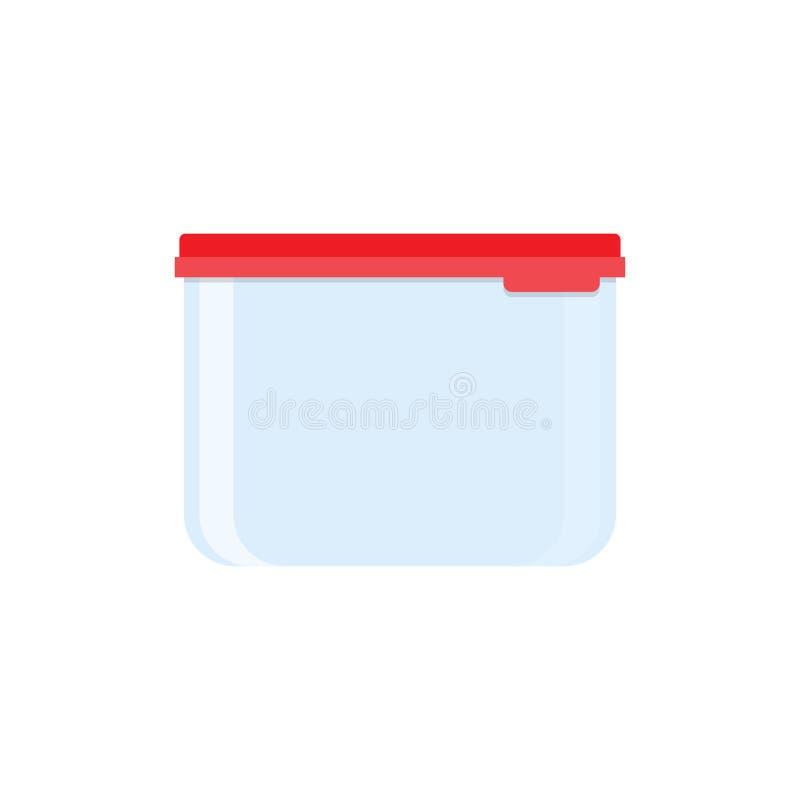 Plastikowy karmowy zbiornik, czerwony dekiel royalty ilustracja