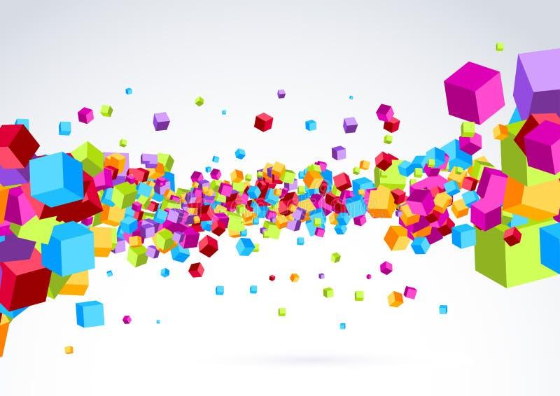 Plastikowy kolorowy jaskrawy kubiczny falowy tło royalty ilustracja