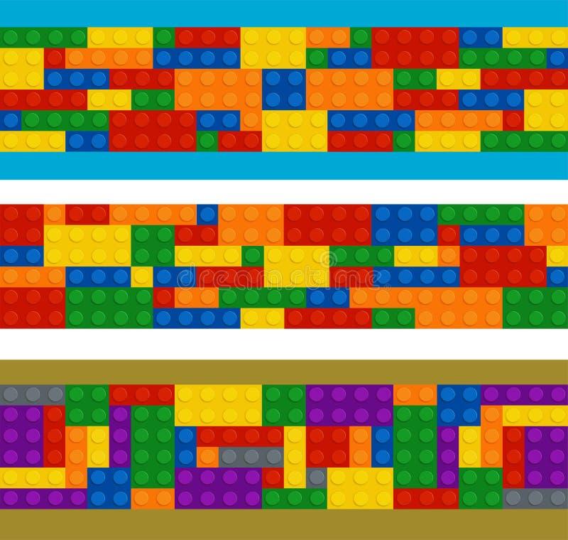 Plastikowy konstruktor w horyzontalnym rozkazie, set różni kolorów kawałki ilustracja wektor