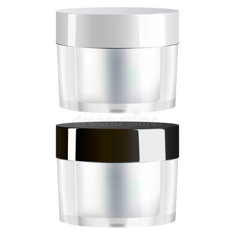 Plastikowy lub szklany Kremowy słój odizolowywający na białym tle Eps 10 wektorowa 3d realistyczna ilustracja Elit kosmetyków pak ilustracji