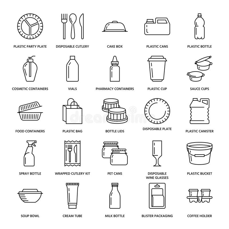Plastikowy pakować, rozporządzalne tableware linii ikony Produkt pakuje, zbiornik, butelka, paczka, kanister, talerze i ilustracji