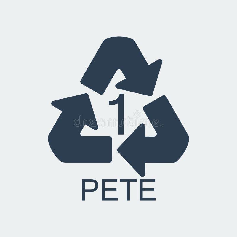 Plastikowy przetwarza symbol PETE 1, Zawija klingeryt, etykietka również zwrócić corel ilustracji wektora ilustracji