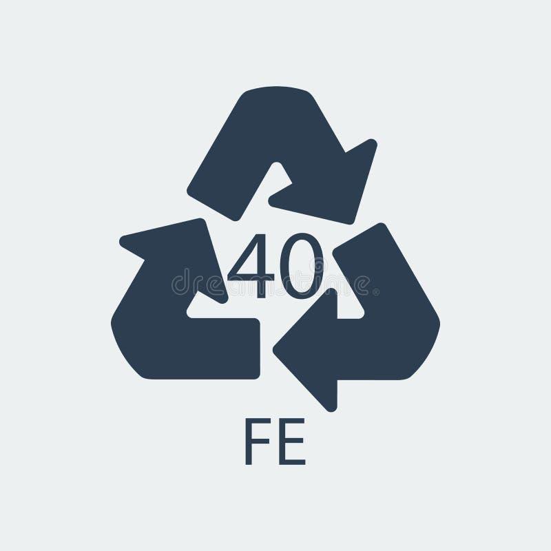 Plastikowy przetwarza symbolu FE 40, Zawija klingeryt, etykietka również zwrócić corel ilustracji wektora ilustracji