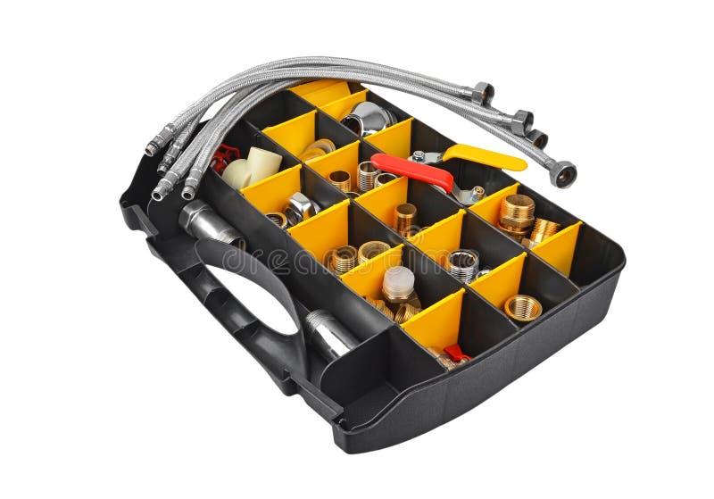Plastikowy pudełko z pumbing narzędziami zdjęcia stock