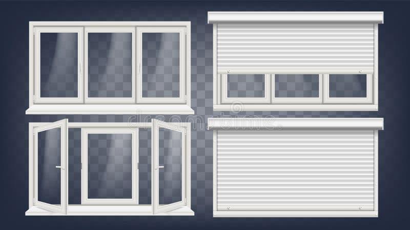 Plastikowy PVC okno wektor Rolkowa stora Rozpieczętowany i Zamknięty Frontowy widok Domowy Nadokienny projekta element Odizolowyw ilustracji