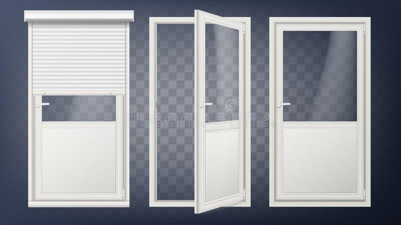 Plastikowy Szklany Drzwiowy wektor Biała Rolkowa żaluzja Rozpieczętowany i Zamknięty Stacza się Up żaluzję Odizolowywający na prz ilustracji