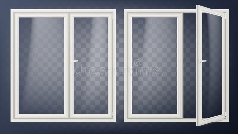 Plastikowy Szklany Drzwiowy wektor Rozpieczętowany i Zamknięty Mieszkanie element Odizolowywający Na Przejrzystej tło ilustraci royalty ilustracja