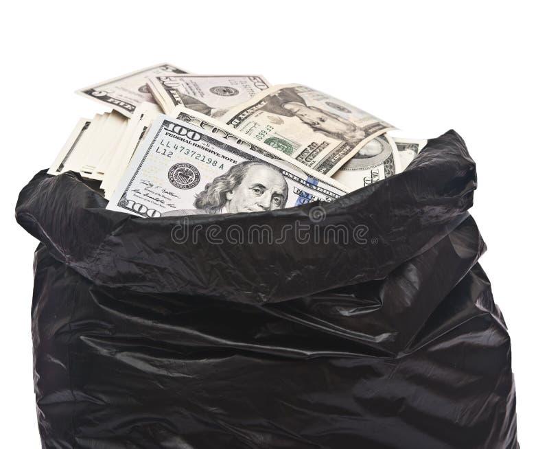 Plastikowy worek pełno pieniądze zdjęcia royalty free