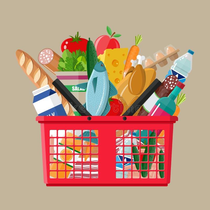 Plastikowy zakupy kosz pełno sklepów spożywczych produkty ilustracji