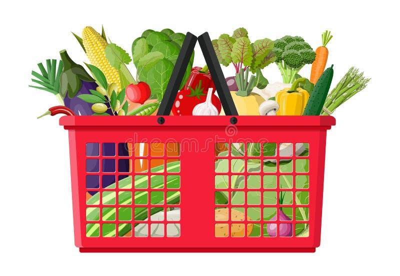 Plastikowy zakupy kosz pełno warzywa royalty ilustracja