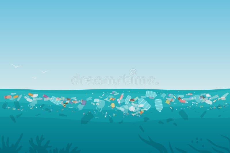 Plastikowy zanieczyszczenie grat na morze powierzchni z różnymi rodzajami śmieci - klingeryt butelkuje, torby, odpady unosi się w ilustracji