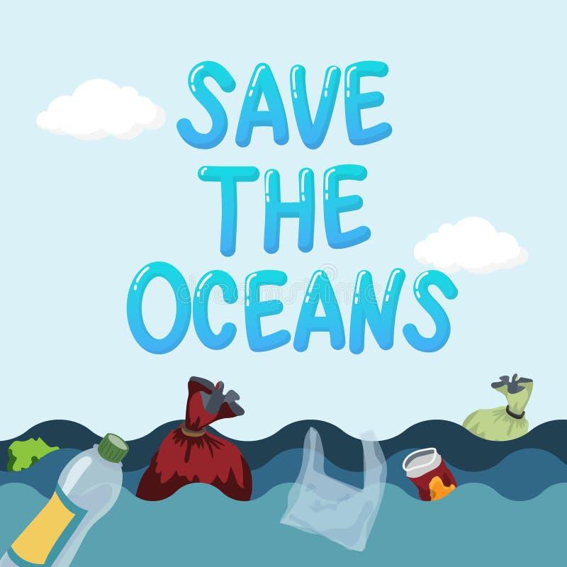 Plastikowy zanieczyszczenie w oceanu problemu związany z ochroną środowiska pojęciu śmieci od plastikowego worka i butelki unosi  ilustracji